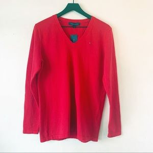 NWT Tommy Hilfiger Red V Neck Sweater